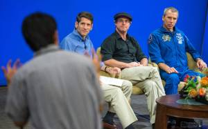 "Project Manager for the Mars Exploration Rover mission at Jet Propulsion Laboratory (JPL) John Callas, left, Author of ""The Martian"" Andy Weir, and NASA Astronaut Drew Feustel, participate in JPL employee panel discussion about NASA's journey to Mars and the film, Tuesday, Aug. 18, 2015, at JPL in Pasadena, California. NASA scientists and engineers served as technical consultants on the film. The movie portrays a realistic view of the climate and topography of Mars, based on NASA data, and some of the challenges NASA faces as we prepare for human exploration of the Red Planet in the 2030s. Photo Credit: (NASA/Bill Ingalls)"